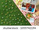 summertime picnic setting on...   Shutterstock . vector #1055742194