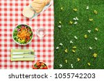 picnic salad meal on a checked... | Shutterstock . vector #1055742203