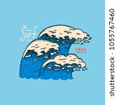 surf badge  wave and ocean.... | Shutterstock .eps vector #1055767460