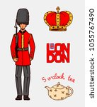 british royal guard and crown ... | Shutterstock .eps vector #1055767490