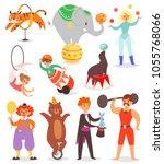 circus people vector acrobat... | Shutterstock .eps vector #1055768066