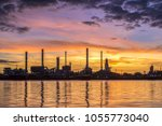 oil and gas refinery at... | Shutterstock . vector #1055773040