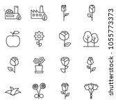 thin line icon set   flower... | Shutterstock .eps vector #1055773373