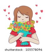 a smiling woman hold a colorful ...   Shutterstock . vector #105578096
