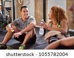 fit people in sportswear... | Shutterstock . vector #1055782004