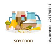 soy food background in flat... | Shutterstock .eps vector #1055785943