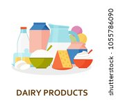 dairy products background in... | Shutterstock .eps vector #1055786090