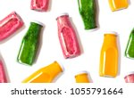 colorful smoothies in bottles... | Shutterstock . vector #1055791664