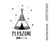playzone scandinavian style... | Shutterstock .eps vector #1055792363