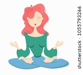the girl in the lotus position. ...   Shutterstock .eps vector #1055793266