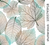 seamless pattern with leaves... | Shutterstock .eps vector #1055795918