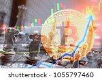 rising value of bitcoin in... | Shutterstock . vector #1055797460