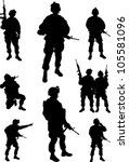 Army Soldiers Silhouette Vecto...