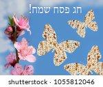 flowering peach and butterflies ...   Shutterstock . vector #1055812046