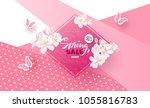 spring sale banner. beautiful... | Shutterstock .eps vector #1055816783