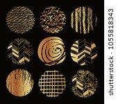 big set of vector golden ... | Shutterstock .eps vector #1055818343
