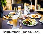 breakfast buffet concept ...   Shutterstock . vector #1055828528