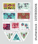 set of vector postage stamps... | Shutterstock .eps vector #1055830646