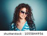 portrait closeup attractive... | Shutterstock . vector #1055844956