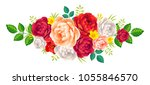 vector rose and peonies flowers ... | Shutterstock .eps vector #1055846570
