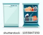 close and open dishwasher with... | Shutterstock .eps vector #1055847350