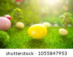happy easter concept. colorful... | Shutterstock . vector #1055847953