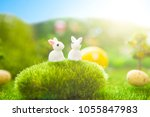 happy easter concept. colorful... | Shutterstock . vector #1055847983