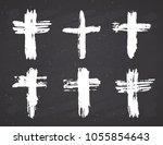 grunge hand drawn cross symbols ... | Shutterstock .eps vector #1055854643