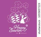 happy easter line art abstract... | Shutterstock .eps vector #1055857223