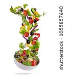 flying vegetable greek salad... | Shutterstock . vector #1055857640