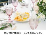 cheese platter. plate with food ... | Shutterstock . vector #1055867360