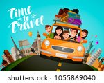 journey  travel concept. happy... | Shutterstock .eps vector #1055869040