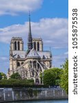 Small photo of View of Cathedral Notre Dame de Paris - a most famous Gothic, Roman Catholic cathedral (1163 - 1345) on the eastern half of the Cite Island.