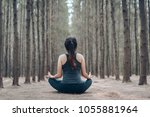 beautiful woman practicing yoga ... | Shutterstock . vector #1055881964