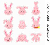 bunny emotions character. cute... | Shutterstock .eps vector #1055891294