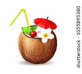 coconut juice exotic fresh... | Shutterstock .eps vector #1055895380