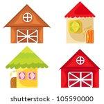 Set Of Cartoon Houses On White...