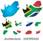 vector south africa map with... | Shutterstock .eps vector #105590420