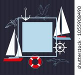 vector frame with  yacht and ... | Shutterstock .eps vector #1055908490
