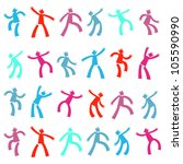 set of funny cartoon dancing... | Shutterstock .eps vector #105590990