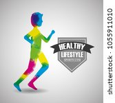 healthy lifestyle sport gym | Shutterstock .eps vector #1055911010