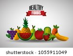 healthy foods dieting | Shutterstock .eps vector #1055911049