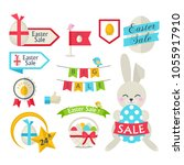 happy easter sale set.vector... | Shutterstock .eps vector #1055917910