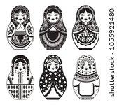 a set of nested dolls. black... | Shutterstock .eps vector #1055921480