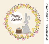 happy easter greeting card... | Shutterstock .eps vector #1055922950