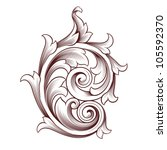 vintage baroque scroll design... | Shutterstock . vector #105592370
