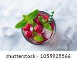 raspberry cocktail  fizz ... | Shutterstock . vector #1055925566