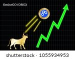 gold bull  throwing up omisego  ... | Shutterstock .eps vector #1055934953