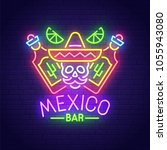 mexico bar neon sign  bright... | Shutterstock .eps vector #1055943080