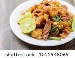 thai food  stir fried rice... | Shutterstock . vector #1055948069